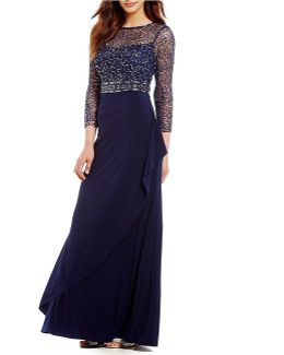 Sequin Lace Bodice Ruffle Front Gown
