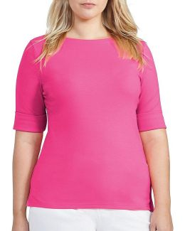 Plus Stretch Cotton Boat Neck Tee