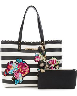 Many Blooms Flower-appliquéd Striped Studded Scalloped Tote