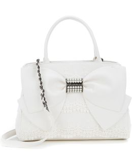 Pearl Of A Girl Scalloped Crochet Bow Satchel