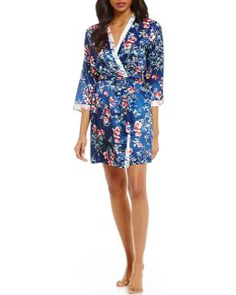 Pink Label Floral Charmeuse Wrap Robe