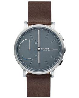 Hagen Connected Leather-strap Hybrid Smart Watch