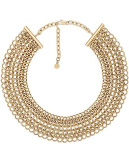 Oversized Gold-tone Stainless Steel Chainmail Link Statement Necklace