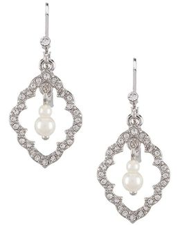 Icing On The Cake Moroccan Trellis & Faux-pearl Drop Earrings