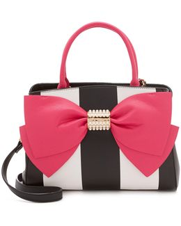 Pearl Of A Girl Striped Bow Satchel
