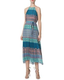 Pleated Printed Midi Halter Dress