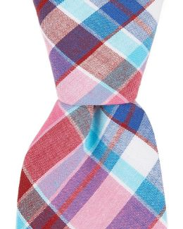 Derita Check Plaid Skinny Cotton Tie