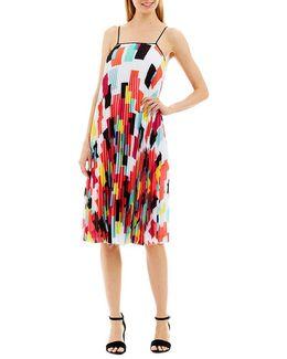 Geo-print Chiffon Pleated Dress