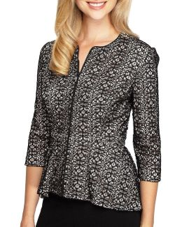 3/4 Sleeve Lace Zip-front Jacket