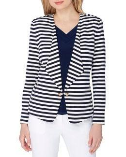 Plus Size Striped Wing-collar Blazer