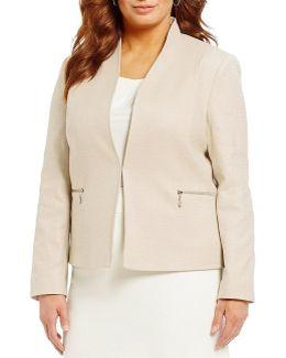Plus Open-front Linen Jacket