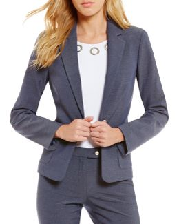 Petites Luxe Stretch Dressy Denim Suiting Grommet Trim Jacket