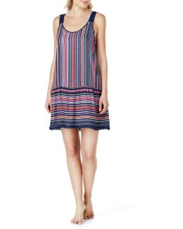 Crochet-trimmed Striped Chemise