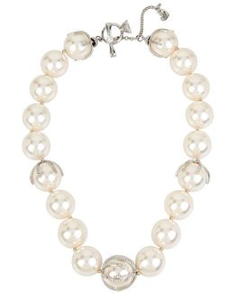 Blue By Faux-pearl Collar Necklace