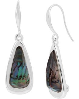 Geometric Abalone Stone Drop Earrings