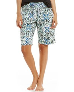 Topia Ornament Dreams Floral Medallion Jersey Bermuda Sleep Shorts