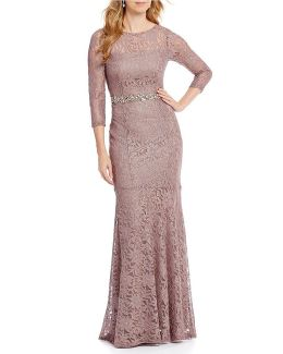 Beaded Waist Lace Gown