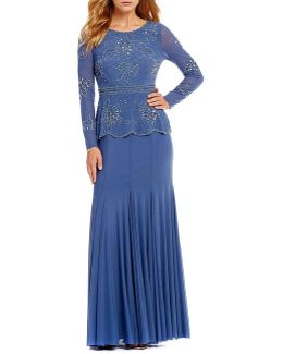 Beaded Mock Two Piece Gown