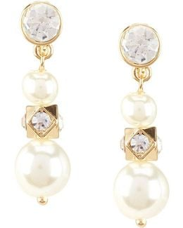 Faux-pearl Triple-drop Clip-on Earrings