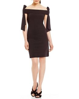 Off-the-shoulder Tie Sheath Dress