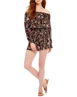 Pretty And Free Off-the-shoulder Printed Romper