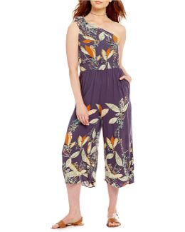 Island Time Printed One-shoulder Cropped Jumpsuit