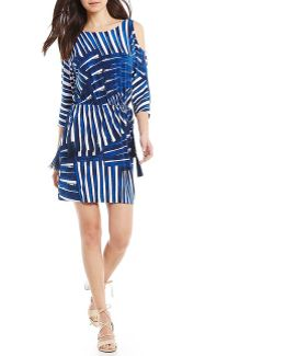 Petite Printed Cold-shoulder Dress