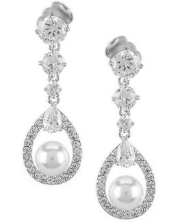Lily Faux-pearl Crystal Drop Earrings