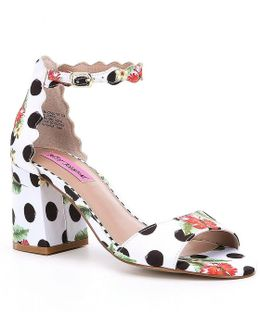 Joslyn Polka Dot Floral Pattern Sandals