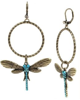 Pavé Dragonfly Hoop Earrings