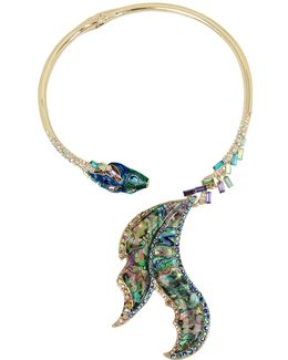 Abalone Fish Tail Hinged Collar Necklace