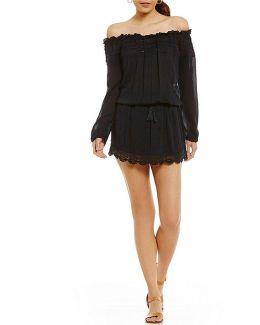 Off-the-shoulder Drawstring-waist Scalloped-hem Dress