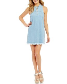 Stella Frayed Hem Zip-front Chambray Sheath Dress