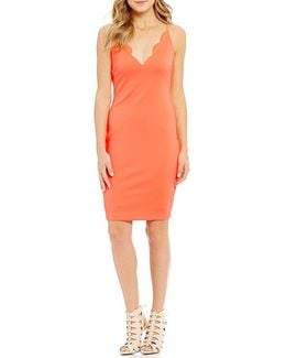 Salina Scalloped Neck Sheath Dress