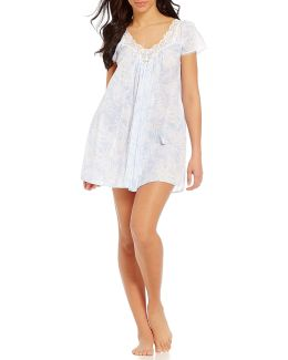 Pink Label Lace-trimmed Palm Leaves Lawn Nightgown