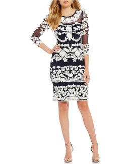 Long Sleeve Soutache Mesh Dress