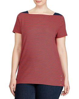 Plus Striped Cotton Boat Neck Tee