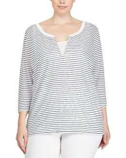 Plus Striped Linen Jersey Shirt