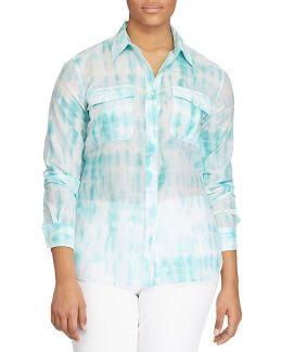 Plus Tie-dye Button-down Shirt