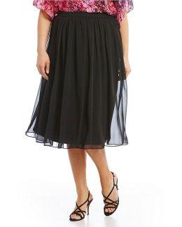 Plus Chiffon Midi Skirt