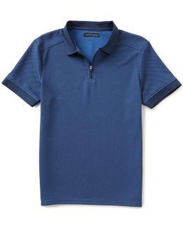 Slim-fit Mesh Zip Solid Polo Shirt