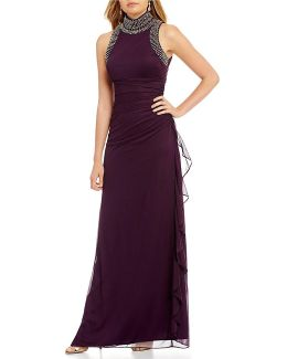 Embellished Mock Neck Side Ruffle Gown