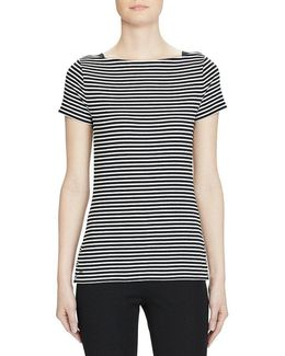 Striped Cotton Boat Neck Tee