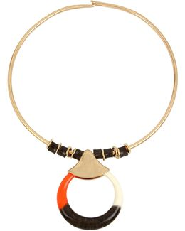 Colorblocked Circle Pendant Wire Collar Necklace