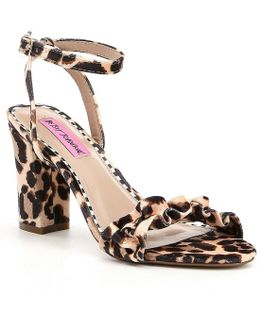 Iliana Leopard-print Ruffled Velvet Dress Sandals