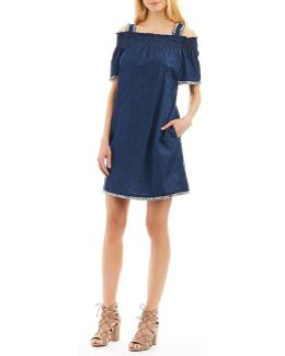 Cold-shoulder Fringe Denim Dress