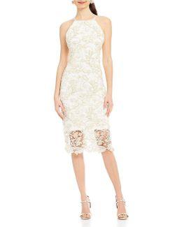Metallic Lace Sheath Dress