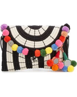 Sevil Striped Pom Pom Clutch