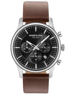 Dress Sport Chronograph & Date Leather-strap Watch