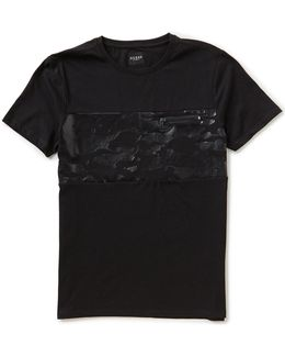 Foiled-camouflage-print Zipper Short-sleeve Crew Neck Tee